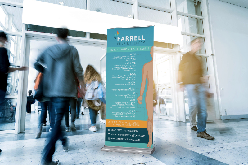 Farrell Physiotherapy Roller Banner in busy entrance